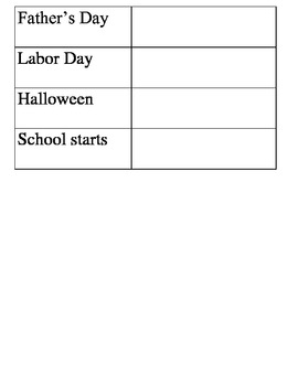 Spanish Months of the Year  Table