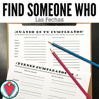 Spanish Speaking Activity - Find Someone Who - Spanish Calendar & Forming Dates
