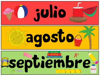 Spanish Months of the Year - los meses del ano