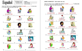 Spanish Mother's Day Pictures and Sentence Completions
