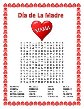 Spanish Mother's Day - Word Search and Cross Word Puzzle-Dia de la Madre