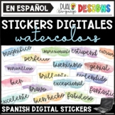 Spanish Motivational Digital Stickers Clipart - Watercolor