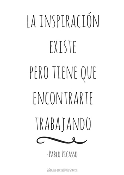 English Spanish Motivational Poster  - Picasso Quote - Inspiration Exists