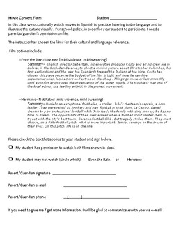 Spanish Movie Consent Form