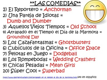 Spanish Movie Titles and Trailers Warm-Up Game with Movie Vocabulary Unit