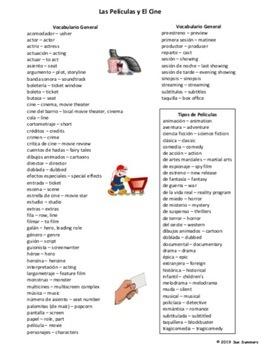 Spanish Movie And Cinema Vocabulary 90 Words Las Películas Y El Cine