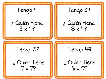 "Spanish Mulitiplication ""I Have, Who Has..."" Game"