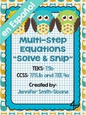 Spanish Multi-Step Equations Solve and Snip