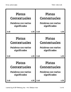 Spanish Multiple Meaning Words Context Clues 24 Task Cards!