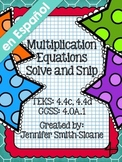 Spanish Multiplication Equations Solve and Snip