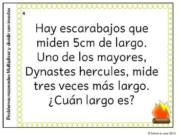 Spanish Multiplication Word Problem Task Cards   Problemas razonados