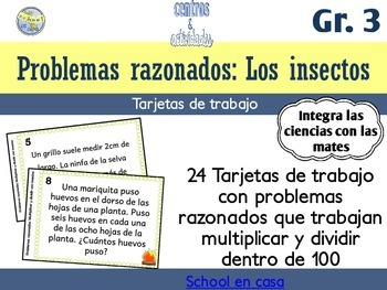 Spanish Multiplication Word Problem Task Cards | Problemas razonados