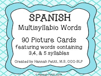 Spanish Multisyllabic Word Picture Cards
