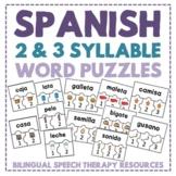 Spanish Multisyllabic Word Puzzles (2 & 3 Syllable Words)