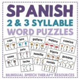 Spanish Multisyllabic Word Puzzles (2 & 3 Syllable Words)