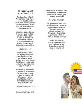 Spanish Music- Álvaro Soler ft. JLo- El mismo sol-Lyrics