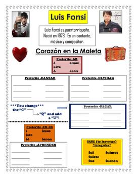 Spanish Music Cloze Listening and Preterite: Corazón en la