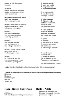 Spanish Music Packet with Present Perfect, Indirect Object Pronouns