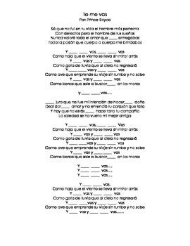 Spanish Music- Prince Royce- Te me vas- Clozeline (object pronouns/ pn)