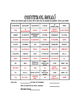 Spanish My Classroom Against the Clock