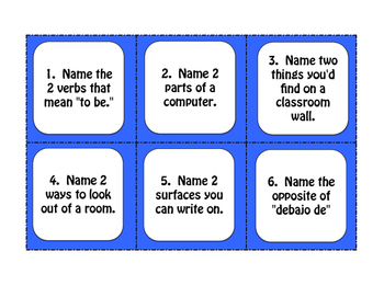 Spanish My Classroom Task Cards