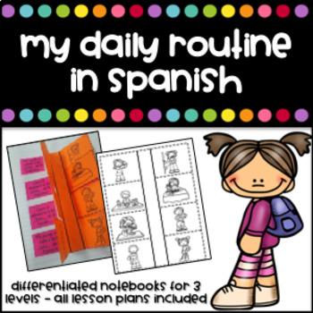 Mi rutina diaria Interactive Notebook (My daily routine in Spanish)