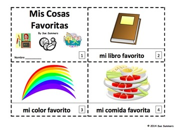 Spanish My Favorite Things - 2 Emergent Reader Booklets