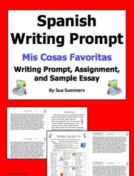 Spanish My Favorite Things Writing Prompt - Mis Cosas Favoritas