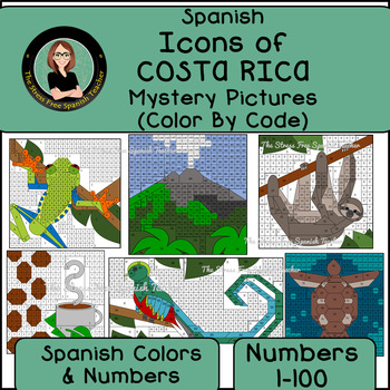 Spanish Mystery Pictures, Icons of COSTA RICA, Spanish Color By Number