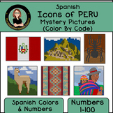 Spanish Mystery Pictures, Icons of PERU, Spanish Color By Number