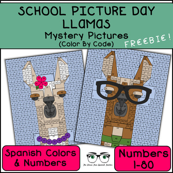 Spanish Mystery Pictures, Llama School Picture Day Fun!