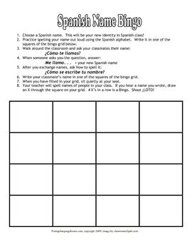 Spanish Name Bingo & Alphabet Practice