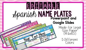 EDITABLE Spanish Name Plates/ Desk Plates/ Name Tags