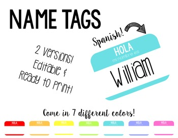 Spanish Name Tags
