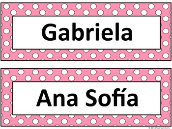 Spanish Nameplates in 2 Sizes with Colorful Polka Dot Backgrounds