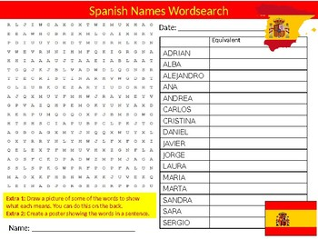 Spanish Names Wordsearch Puzzle Sheet Keywords Activity Spain