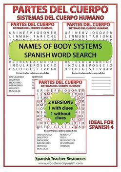 Spanish Names of Body Systems - Word Search