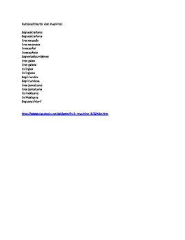 Spanish Teaching Resources. Nationalities. Link to slot machine game