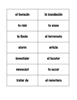 Spanish Natural Disasters Buzz Game