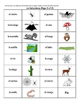 Spanish Nature Vocabulary Dominoes