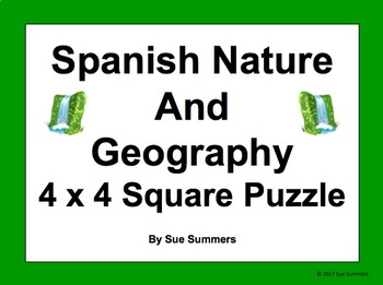 Spanish Nature and Geography 4 x 4 Matching Squares Puzzle