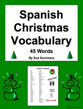Spanish Christmas Vocabulary List 45 Words