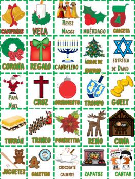Spanish  Navidad y  Janúca Bingo