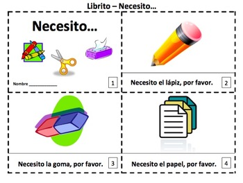 Spanish Class Objects 2 Emergent Reader Booklets - Necesito...