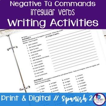 Spanish Negative Tú Commands writing exercises - Irregular Verbs