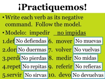 Spanish Negative Tú Commands Powerpoint & Notes - Stem-Changing -ER & -IR