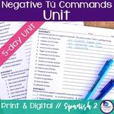 Spanish Negative Tú Commands Bundle