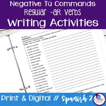 Spanish Negative Tú Commands Writing Exercises - Regular -AR