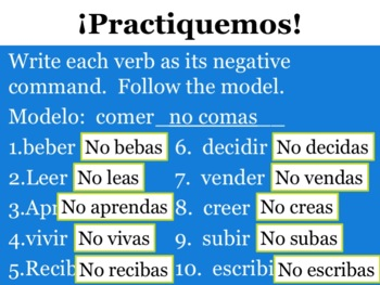 Spanish Negative Tú Commands Powerpoint & Notes - Regular -ER & -IR