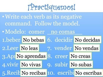 Spanish Negative Tú Commands Powerpoint & Notes - Regular -ER & -IR